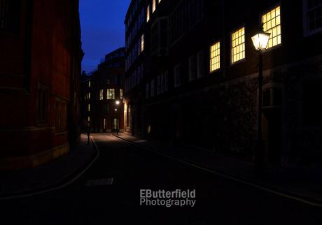 Gaslit street in Westminster, London