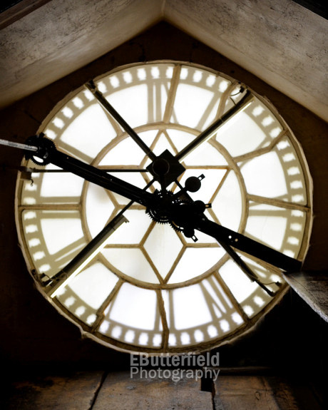 Interior of the clock tower at Bath Abbey